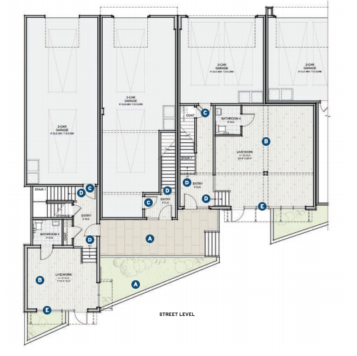 Street level plan for the Prynt townhomes designed by the Dahlin Group