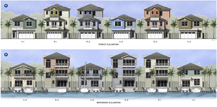 Home elevations for Sunset Inlet, designed by The Evans Group
