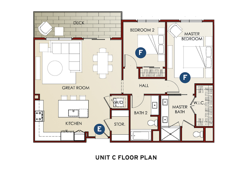 Unit C floor plan in the Eighty-Six Mixed Use design by LCRA