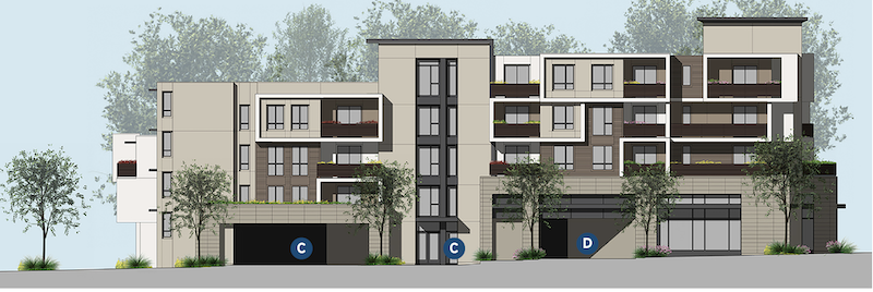 Elevation of Eighty-Six Mixed Use design by LCRA