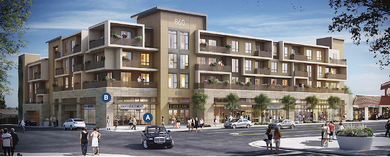 Street view of Eighty-Six Mixed Use design by LCRA