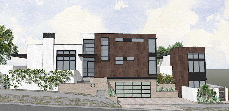 street view of the facade of the Gibson Custom home design by DTJ Design