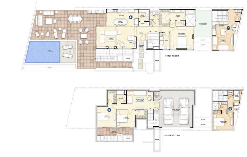 floor plans for the ground and first floors of the Gibson Custom Home design by DTJ Design
