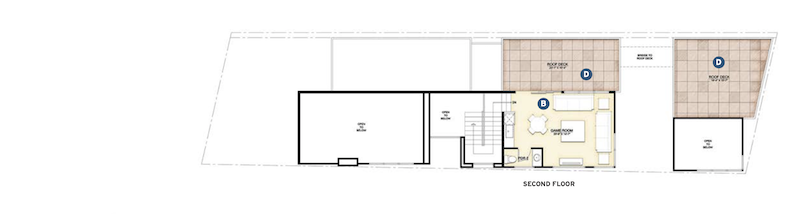 second floor plan for the Gibson Custom Home design for a narrow lot by DTJ Design