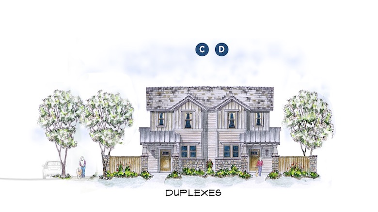 Duplex elevations for the Chisolm Trail design by Larry W. Garnett