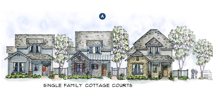 Single-family elevations for the Chisolm Trail design by Larry W. Garnett