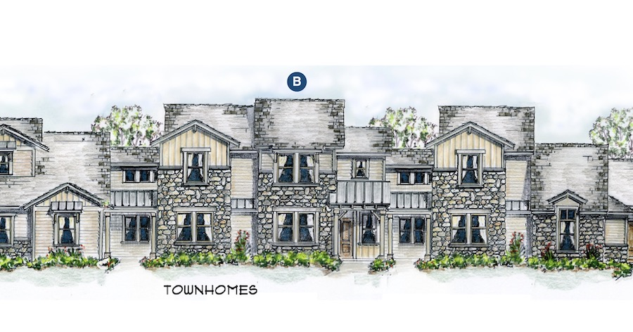 Townhome elevations for the Chisolm Trail design by Larry W. Garnett