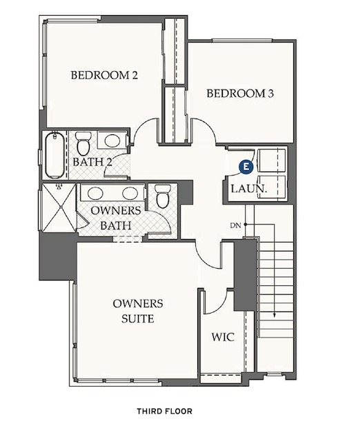 Third-floor plan for Dahlin Group's design for Evergreen at Rise