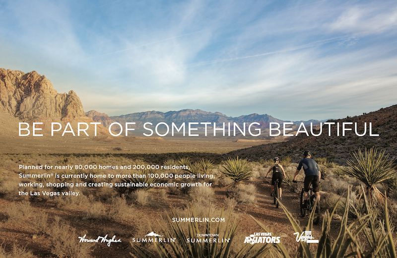 Howard Hughes' Summerlin marketing appeals to healthy lifestyles showing bike riders ourtdoors