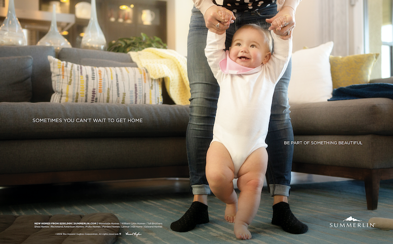 Howard Hughes' Summerlin marketing appeals to human values showing baby taking first steps