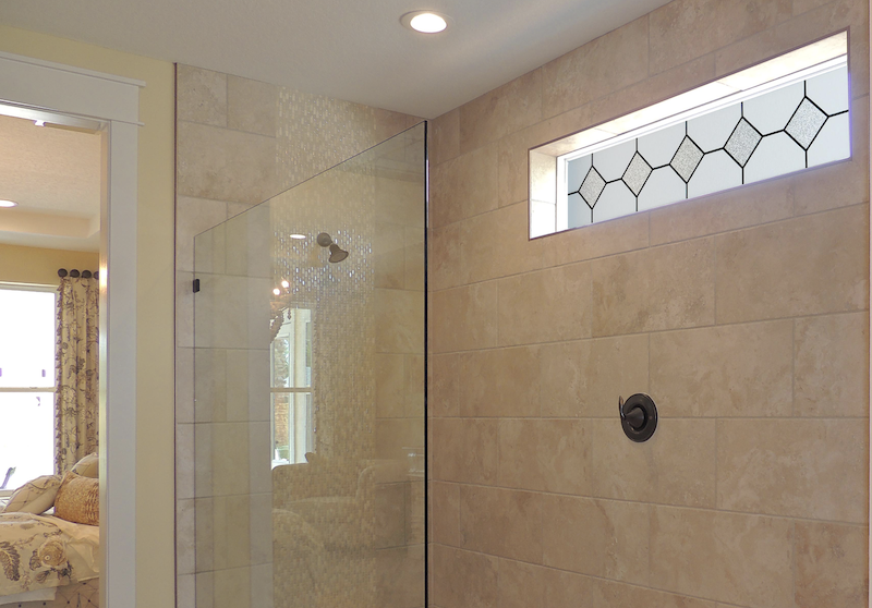 Hy-Lite Mission-style transom window in bathroom