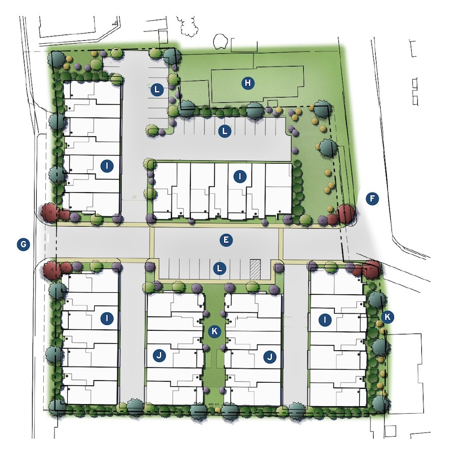 Site plan for Kevin L. Crook Architect's three-story townhomes