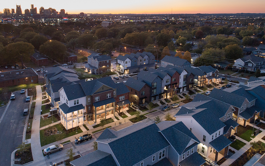 Aerial view of Kirkpatrick Park multifamily development, Nashville, at dusk
