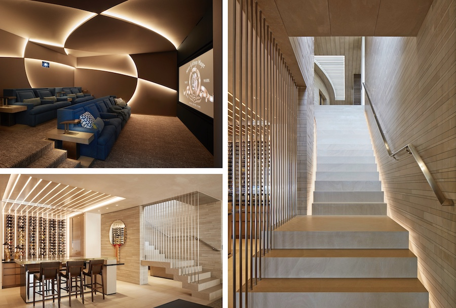 LED lighting used creatively on stairs, in a home theater, and in a wine room