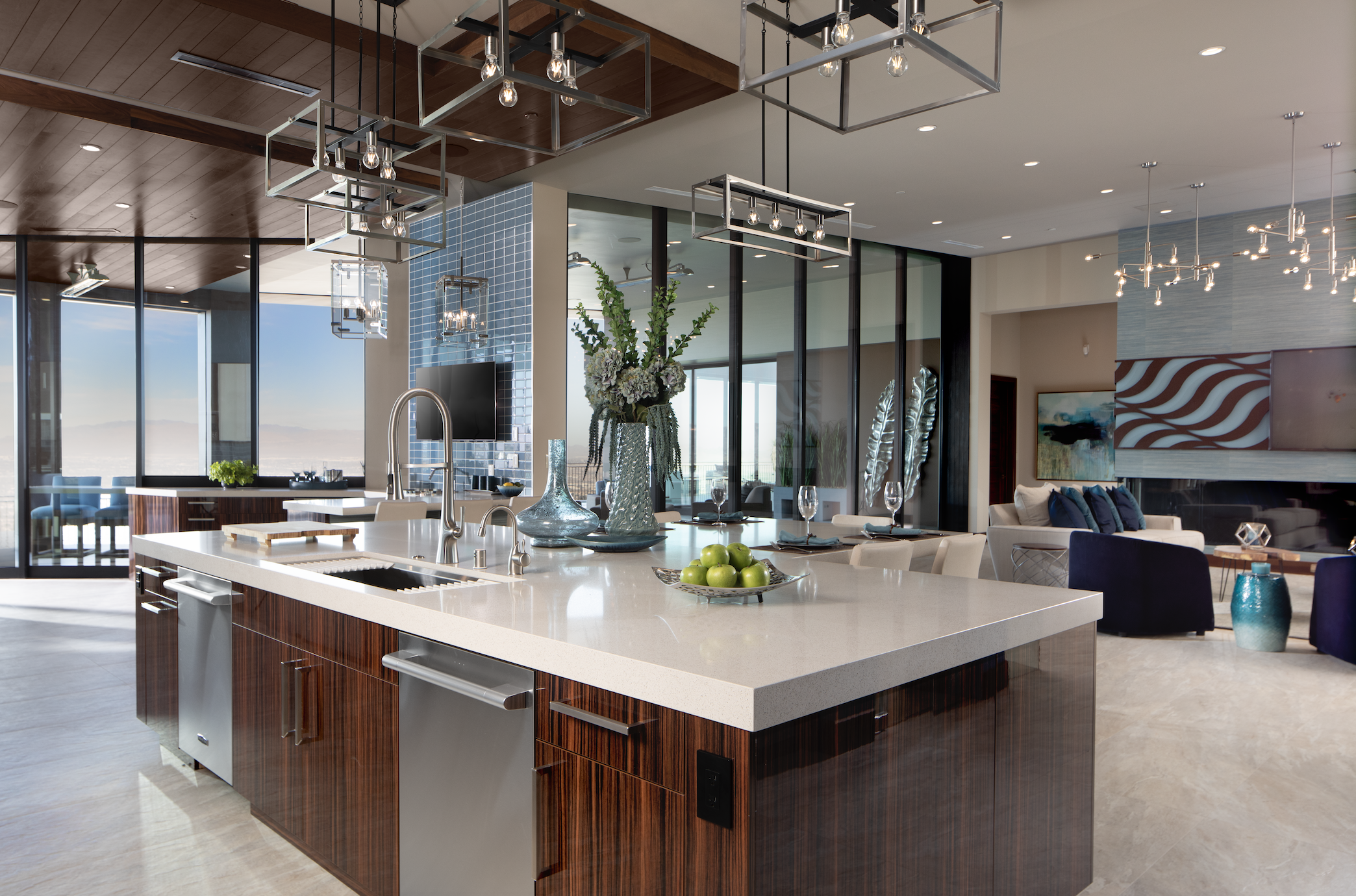 The New American Home spacious kitchen with central island