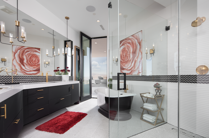 New American Home mini master bathroom with light-dark dramatic color scheme