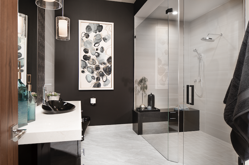 New American Home study bathroom with light-dark dramatic color scheme