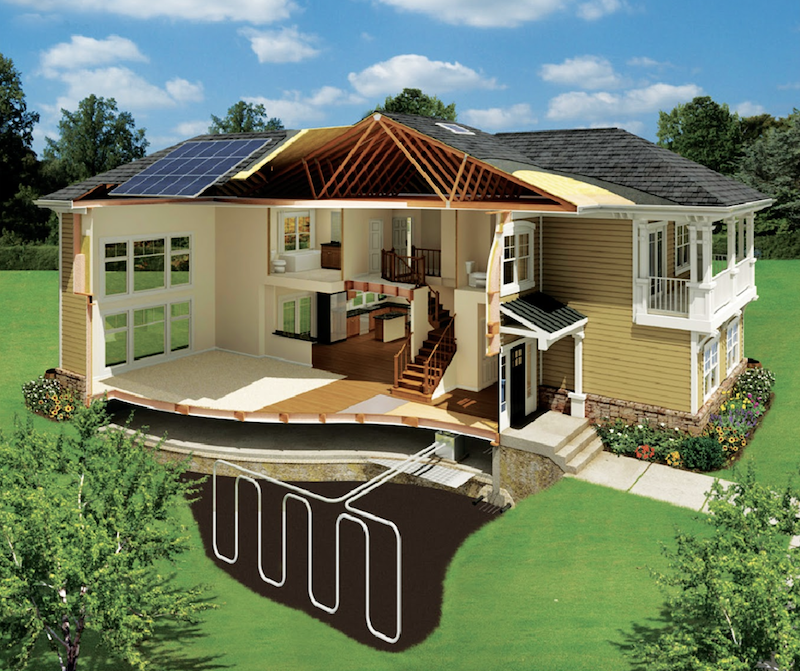 Nexus EnergyHomes feature photovoltaics, geothermal, energy recovery ventilation, and SIPs