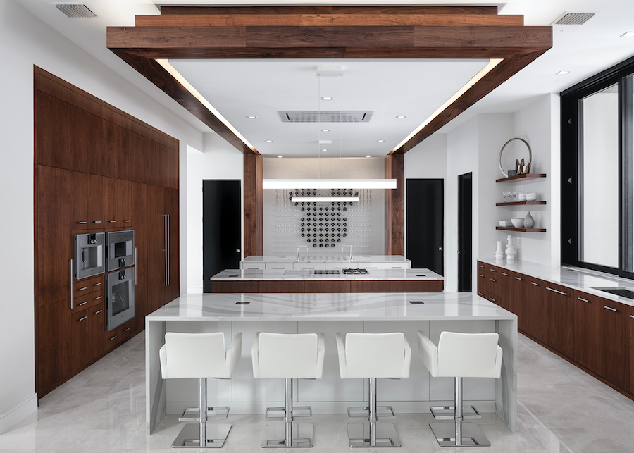 Nyumbani luxury spec home, kitchen interior with three islands