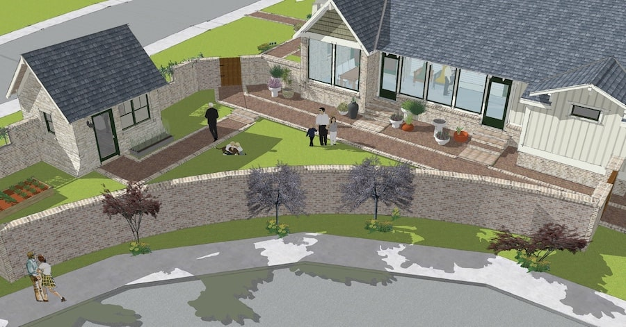 Old MIll home design, yard