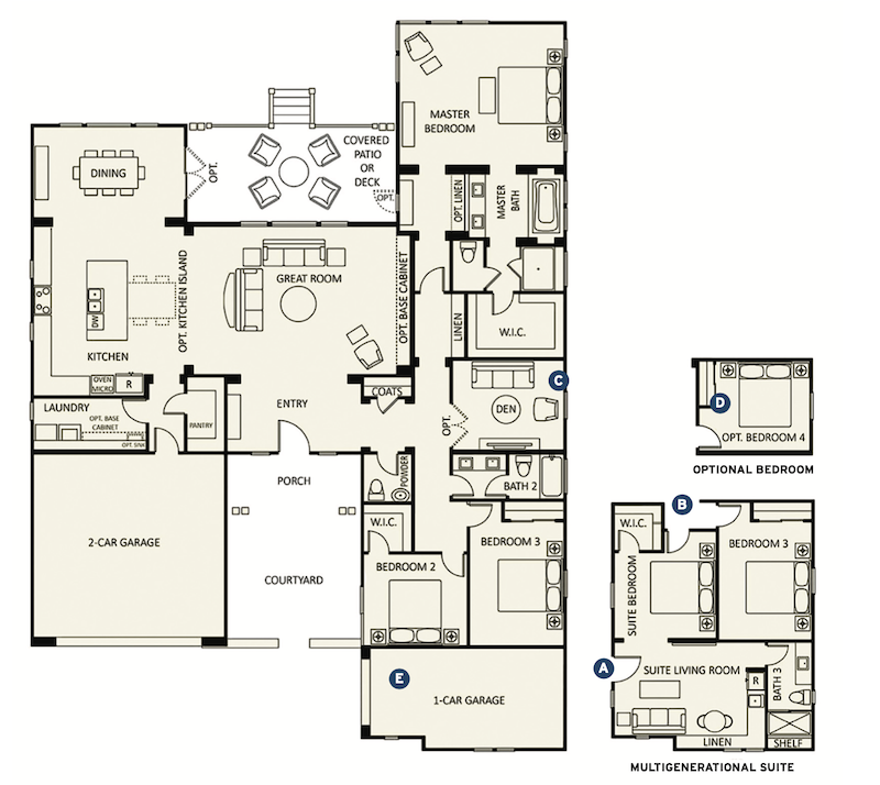 floor plan of Plan 1 multigenerational home design by Dahlin Group Architecture Planning
