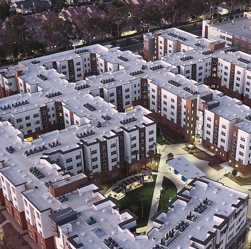Aerial view of Plaza Verde student housing, a 2020 BALA winner