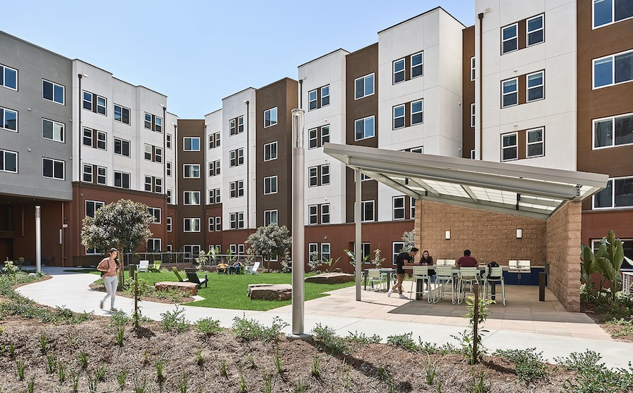 Exterior courtyard space at Plaza Verde student housing, a 2020 BALA winner