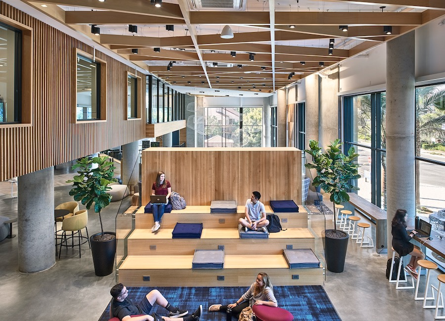 Interior common space at Plaza Verde student housing, a 2020 BALA winner