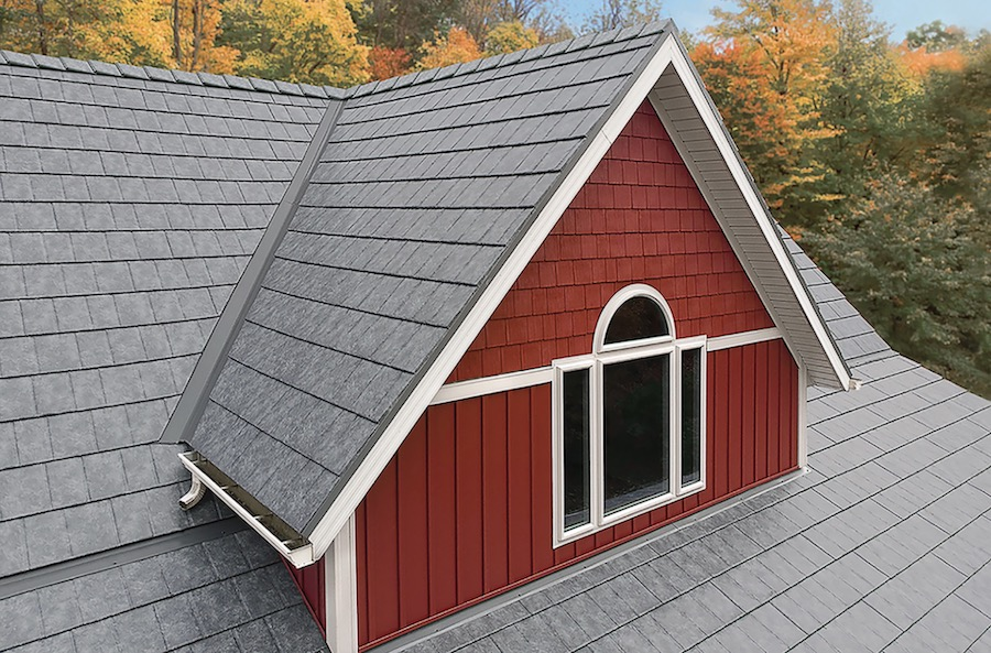 ProVia metal roof in the color Ironstone Slate