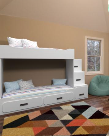 Children's bed with drawers