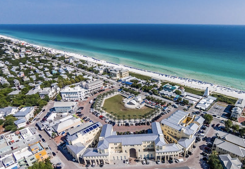 aerial view of Seaside community in Florida designed by Duany Plater-Zyberk & Co.