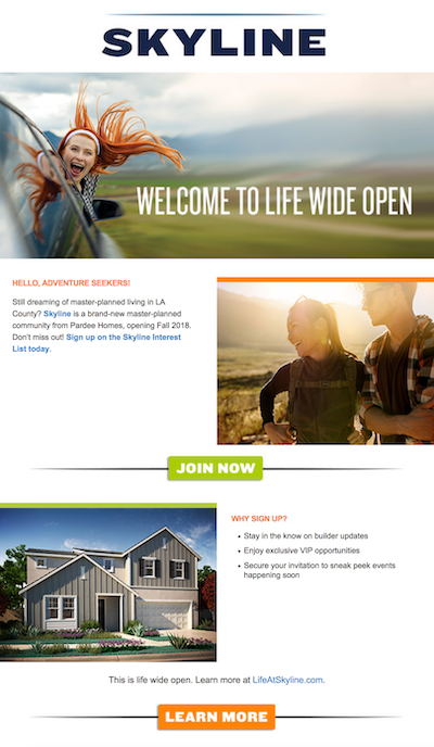 Pardee Homes' email campaign for Skyline helps sell the new housing development