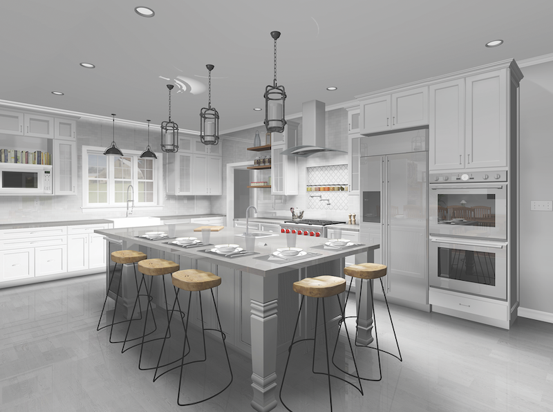 kitchen rendering created using SoftPlan architectural design software