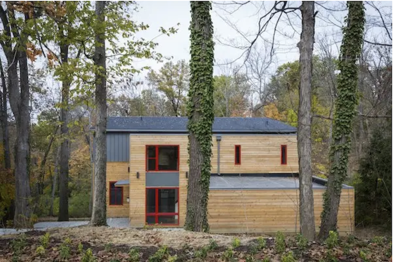 Exterior view of the LEED Gold Sikes Residence by Sol Design + Consulting