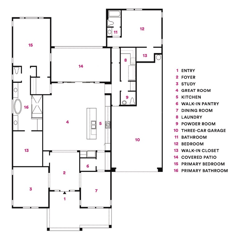 Floor plan for the Sterling Grove at St. Helena, a 2020 BALA winner