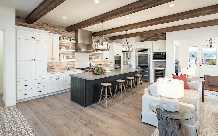 Kitchen and interior living space in the Sterling Grove at St. Helena, a 2020 BALA winner