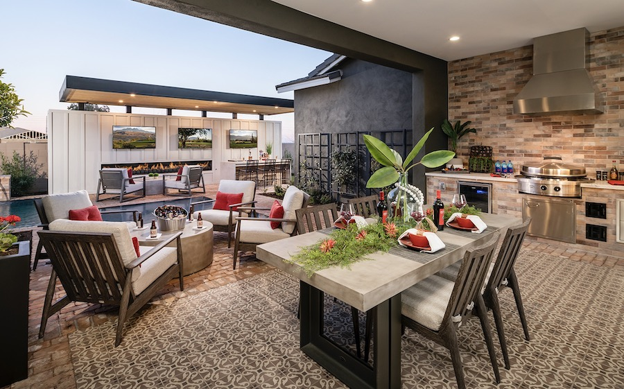 Outdoor living and dining in Sterling Grove at St. Helena, a 2020 BALA winner