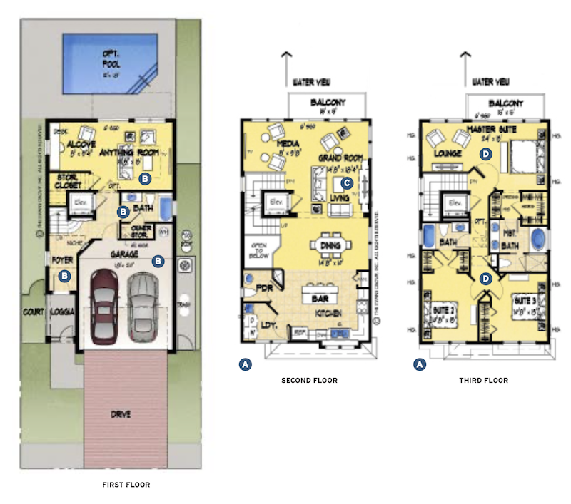 floor plans for the Sunset Inlet narrow-lot home design by The Evans Group