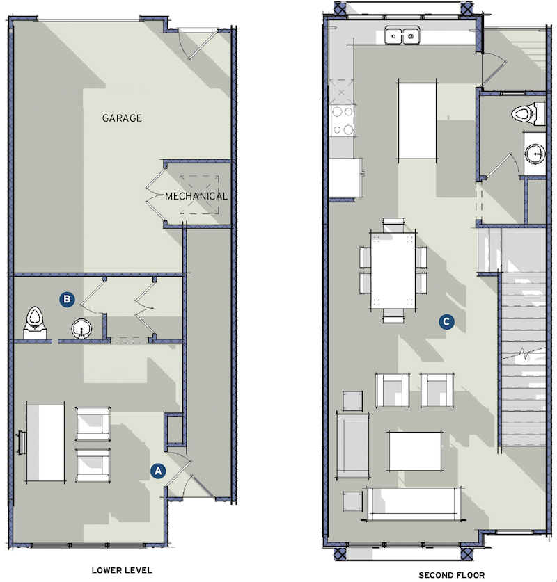 TK Design & Associates' Clair design lower-level plan and second-floor plan