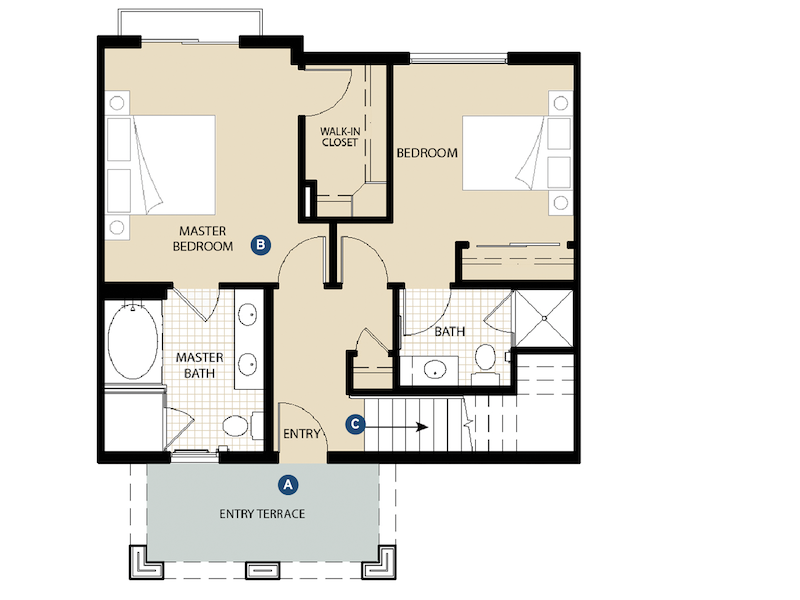 Ground floor plan of the Portside Ventura Harbor Townhomes