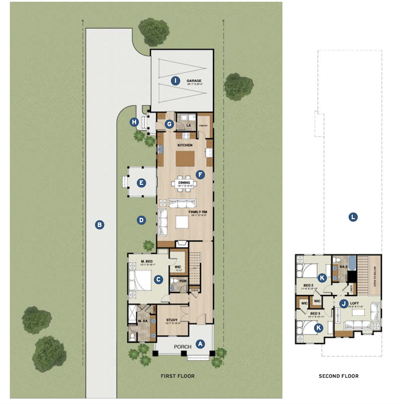 first and second floor plans for The Greenwood home design by GMD Design Group