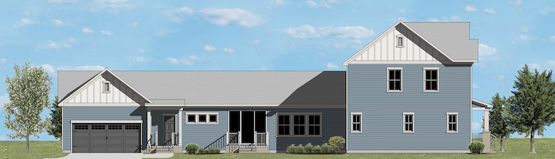 left elevation of The Greenwood design for a narrow lot by GMD Design Group