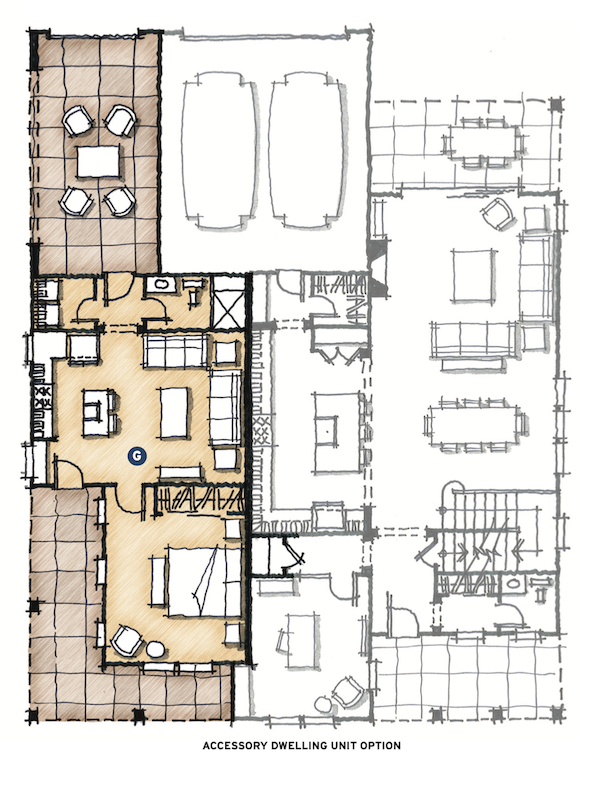 accessory dwelling unit plan for The Union multigenerational house design by DTJ Design