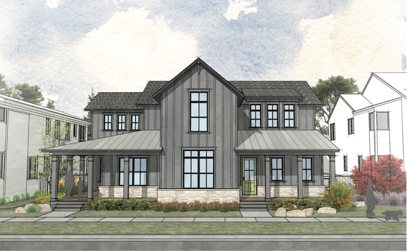 front elevation of The Union multigenerational house design by DTJ Design