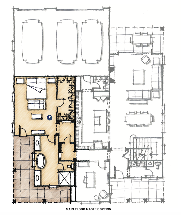 main floor master option for The Union multigenerational house design by DTJ Design