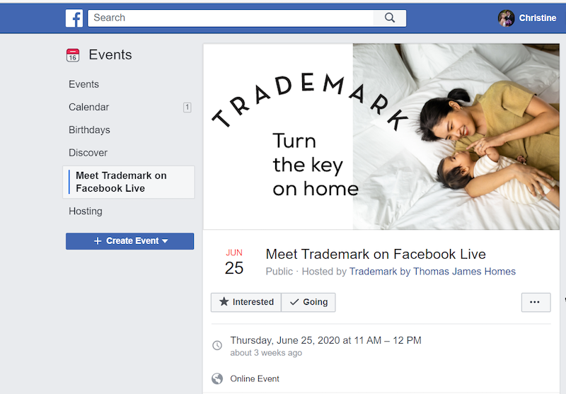 Facebook post about Trademark by TJH virtual event