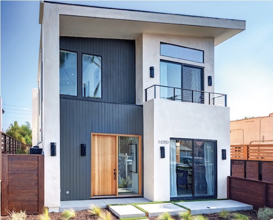Exterior of a Thomas James Homes design with a modern aesthetic