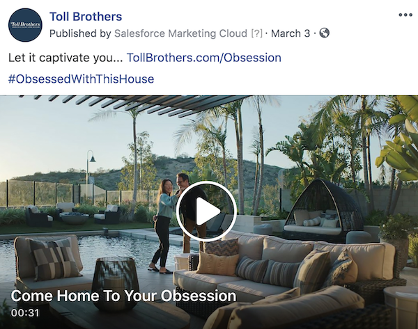 Toll Brothers' Obsession social media campaign for luxury homes shows a couple dancing by the pool