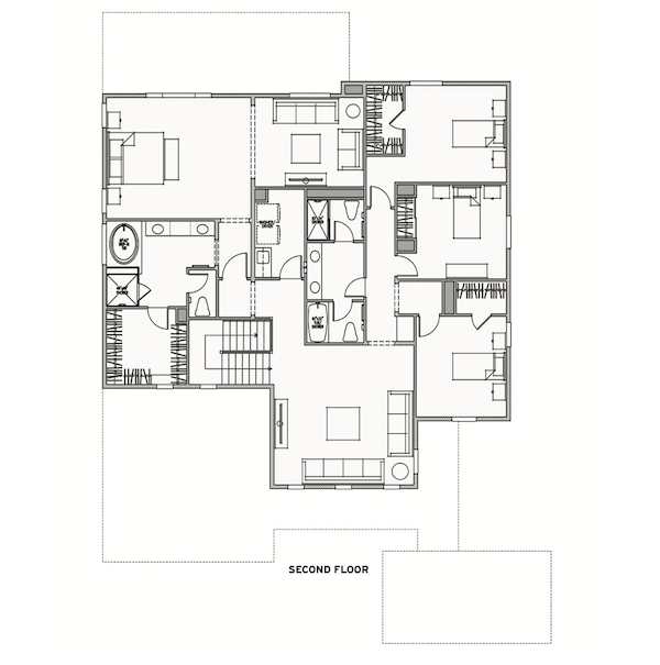 Topaz Plan 4 home design second floor plan by Kevin Crook architect