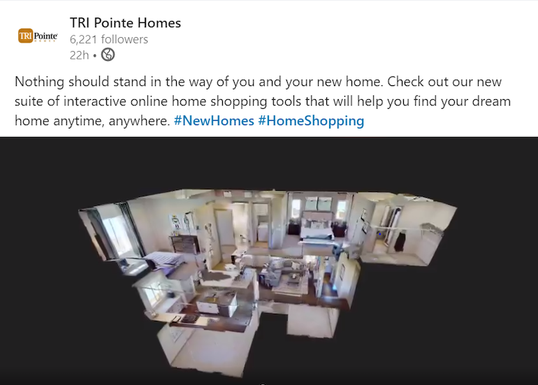 3D tour of TriPointe home